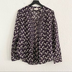 Anthropologie Maeve Purple Monkey Button Front Top